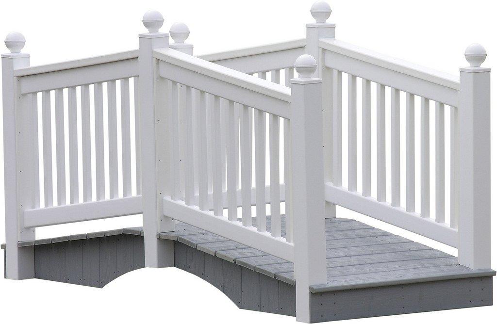 8 Foot Vinyl Outdoor Bridge with Gray Vekadeck Flooring - White - Amish Made in USA