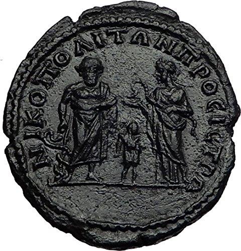 Septimius Severus Coins - SEPTIMIUS SEVERUS Nicopolis ASCLEPIUS HYGEIA TELESPHORUS Roman Coin RARE i58564