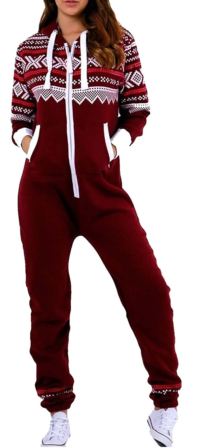 Crazy Girls Womens Aztec Print Onesie Ladies Hooded All in One Fleece Jumpsuit