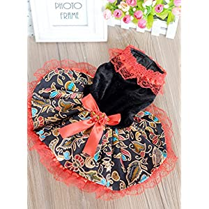 Dogloveit Velvet Ethnic Style Tutu Dress With Lace Dog Clothes For Puppy Cat,Red,Medium