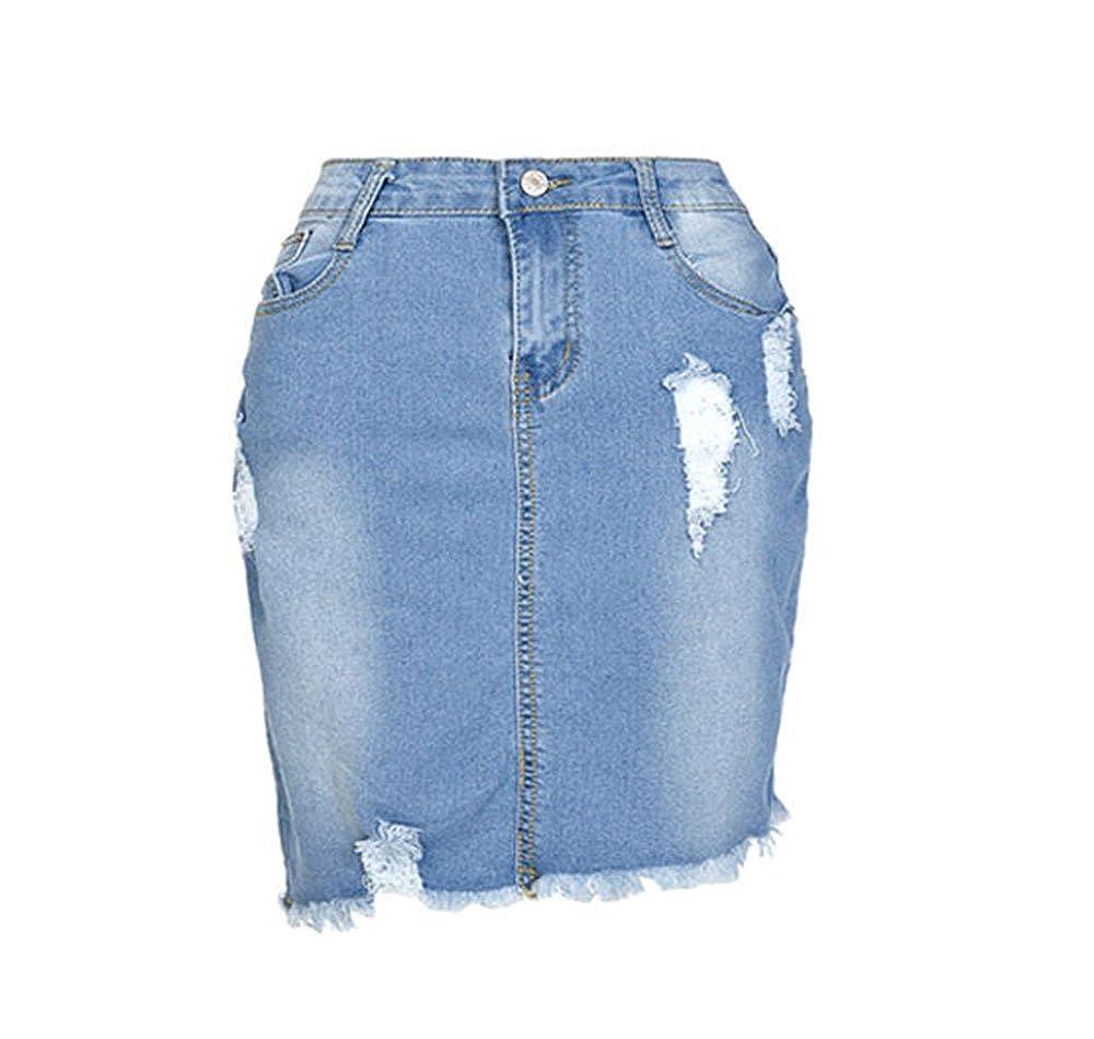 Worclub Denim Mini Falda Mujeres Faldas de Cintura Alta de Verano para Mujeres Bolsillos Bot/ón Se/ñora para ni/ñas Falda de Jeans Totalmente Combinados