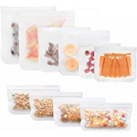 10 Pack Reusable Storage Bags BPA FREE Thick Freezer Bags(2 Gallon Bags,2 Large Lunch Bag,2 Sandwich Bags,4 Snack Bags…