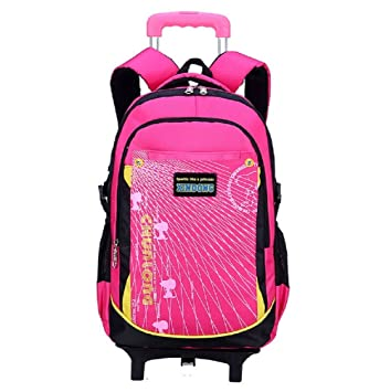 Lazutom Casual Cute Kids Nylon Rolling Backpack Trolley Bag School Bookbag With 3 Group Of