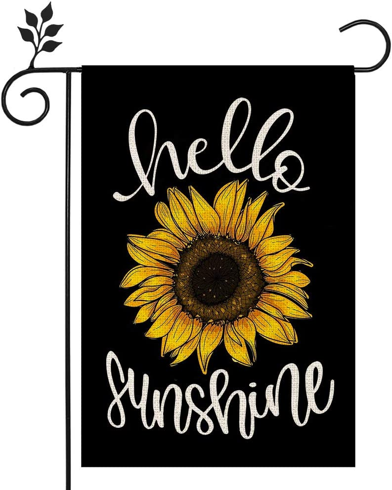 CROWNED BEAUTY Hello Sunshine Summer Garden Flag Sunflower Black 12×18 Inch Double Sided Vertical Yard Outdoor Decoration CF159-12