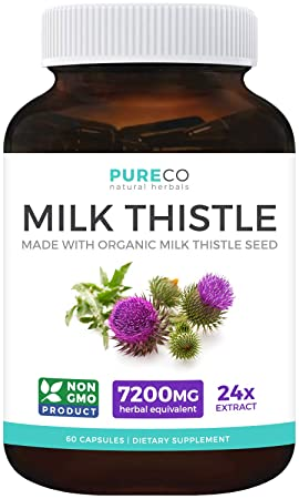Organic Milk Thistle 24 1 Extract 80 Silymarin Vegan Super-Concentrated Extract for 7,200mg of Milk Thistle Seed Power Supports Liver Cleanse, Detox Health – Marianum Herb 60 Capsules Pills