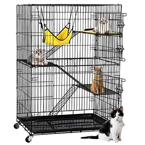 Yaheetech 4-Tier Kitten Cat Ferret Cage | Cat Playpen w/2 Front Doors & 3 Ramp Ladders & 3 Resting Platforms & Cat Bed & Locking Casters | Ideal for 1-2 Kitten | Cage Measures 32L x 22W x 48H inches (Three Litter Tier Box)