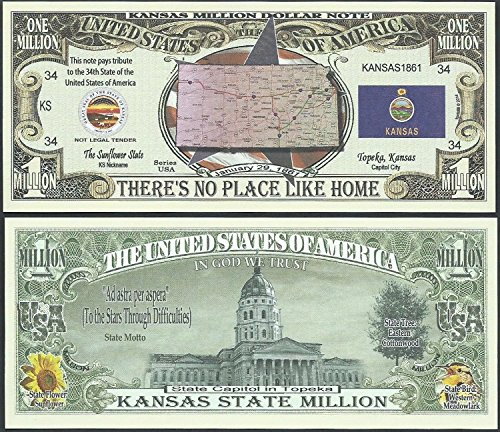 Kansas State Educational Million Dollar Bill W Map, Seal, Flag, Capitol - Lot of 100 Bills - Seal Dollar Bill