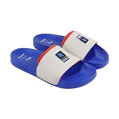 add33fff14337 PUMA Leadcat Ader Error Mens Beige Blue Suede Slides Slip On Sandals Shoes