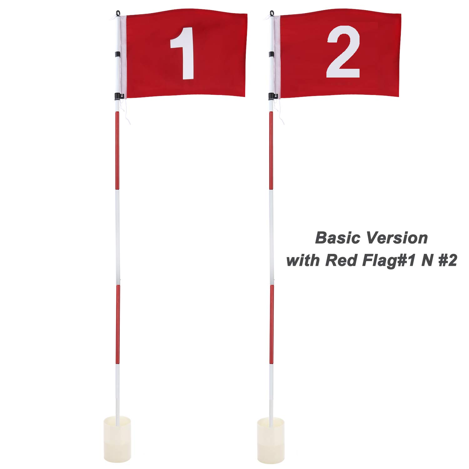 KINGTOP Golf Flag Stick, Practice Putting Green Flagstick Hole Cup Set, Golf Pin Flags for Driving Range/Backyard, Indoor/Outdoor, 5-Section Design, Solid Red Flag Numbered #1, 2, Both 71-inch, 2-Set