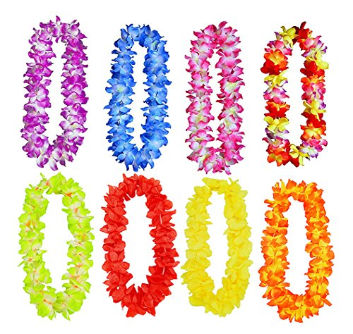 8pcs Hawaiian Hula Leis Dance Garland Artificial Flowers Neck Loop for Luau Party Costumes(8 Colors,Thickened)