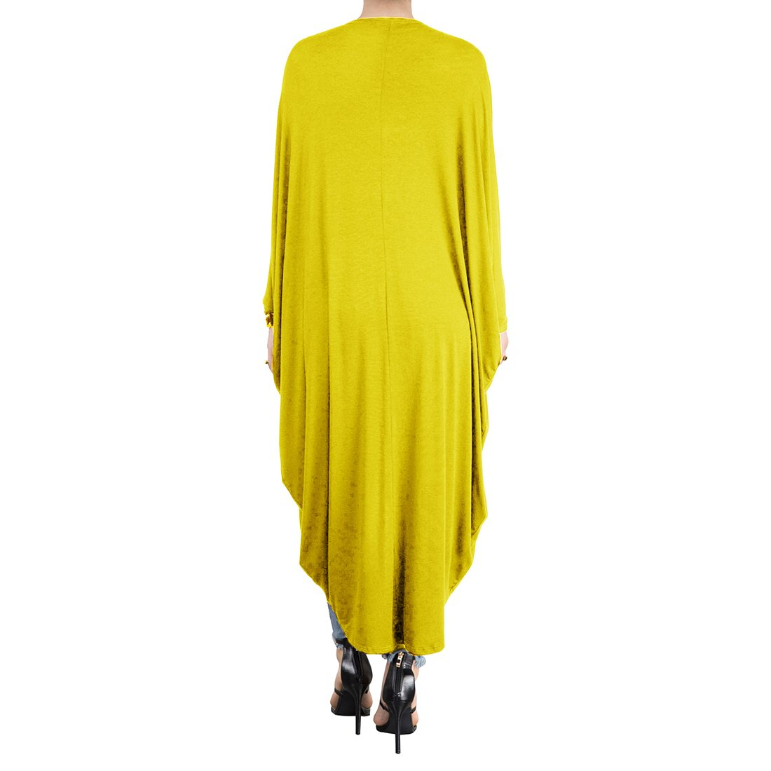YYF Womens Long Batwing Sleeves Cloak Open Front Pleated Loose Blouse Cape