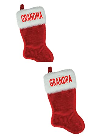 466fcacb3 NAME (GRANDMA GRANDPA) 2PC SET EMBROIDERED 18 quot  X 8.5 quot  Traditional  Red and