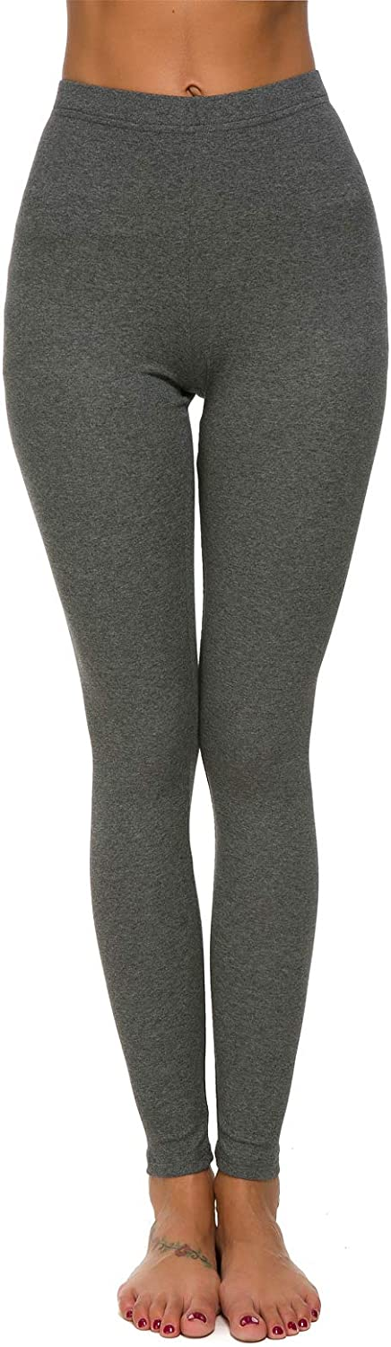 MSHING Womens Workout Yoga Leggings Pants High Waist Basic Stretchy Extra Soft Full Length Seamless Lined Leggings Deep Grey