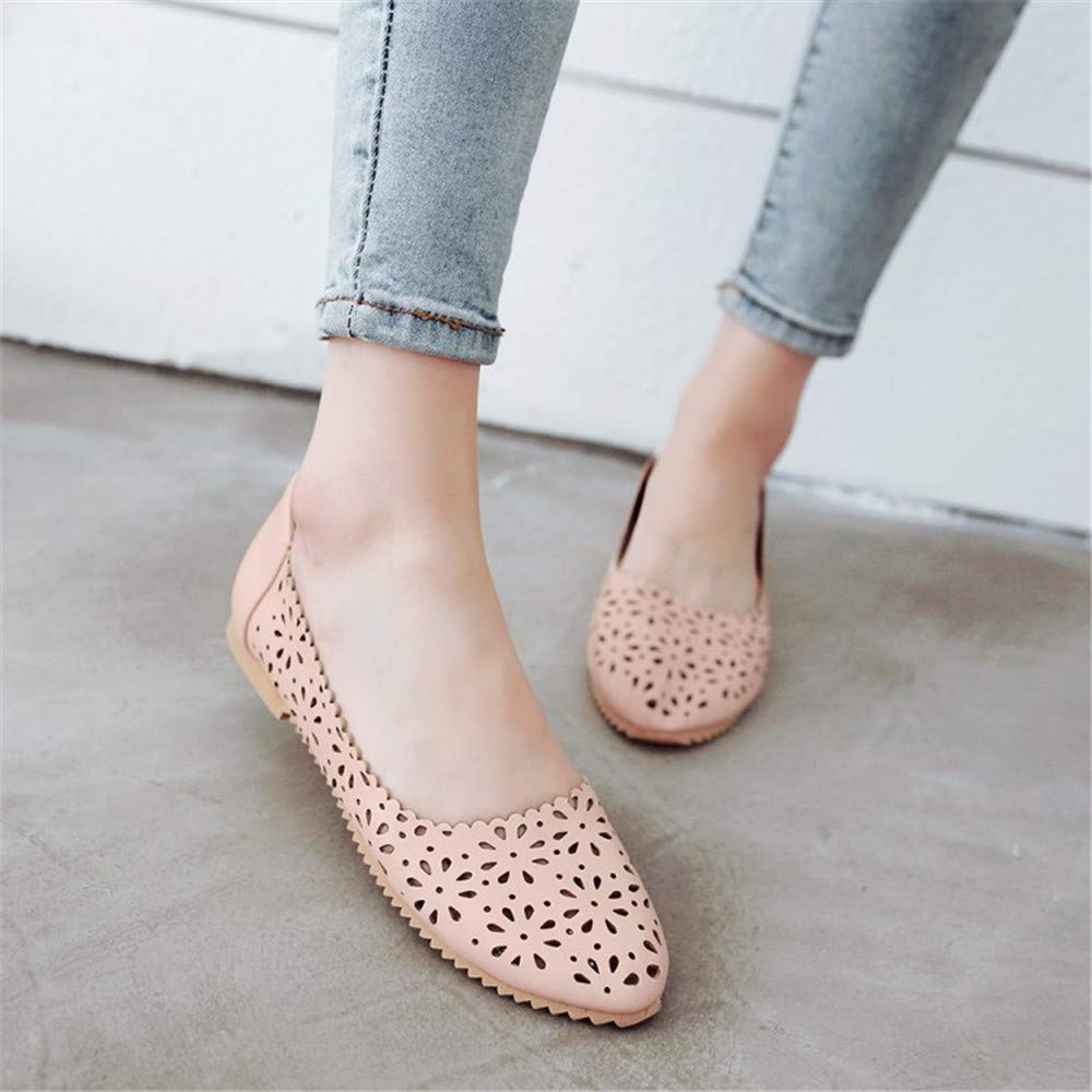 Real Sale Plus Large Size 34-47 Womens Fashion Shoes Woman Flats Spring Female Ballet Metal Round Toe Solid Casual