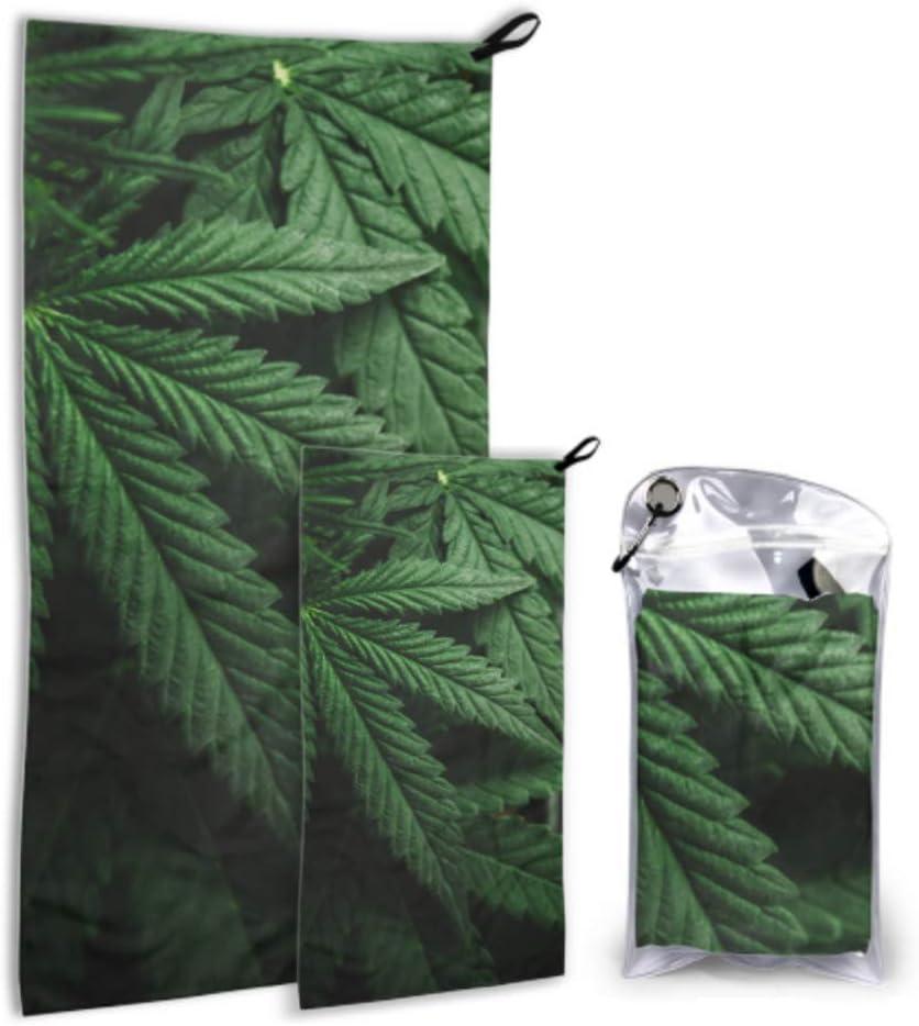 Rtosd Hojas de Marihuana Cannabis On Dark Paquete de 2 microfibras Toallas de Gimnasia Toallas de Ducha Juego de Campamento Secado rápido Lo Mejor para Viajes de Gimnasia Mochilero Yoga Fitnes