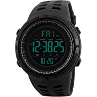Fanmis Mens Digital LED Sports Watch Military Multifunction 12H/24H Time Dual Time Alarm Countdown Back Light with Simple Design 164FT 50M Water Resistant Calendar Month Date Day Watch