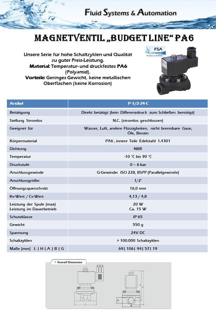 "Magnetventil PA NC 1//2/"" 24V DC 0-6 bar NBR"