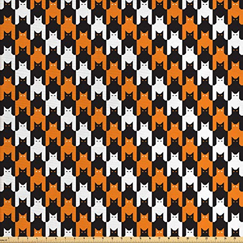 Ambesonne Halloween Fabric by The Yard, Digital Style Catstooth Pattern Pixel Spooky Harvest Fashion Illustration, Decorative Fabric for Upholstery and Home Accents, Orange Black White ()