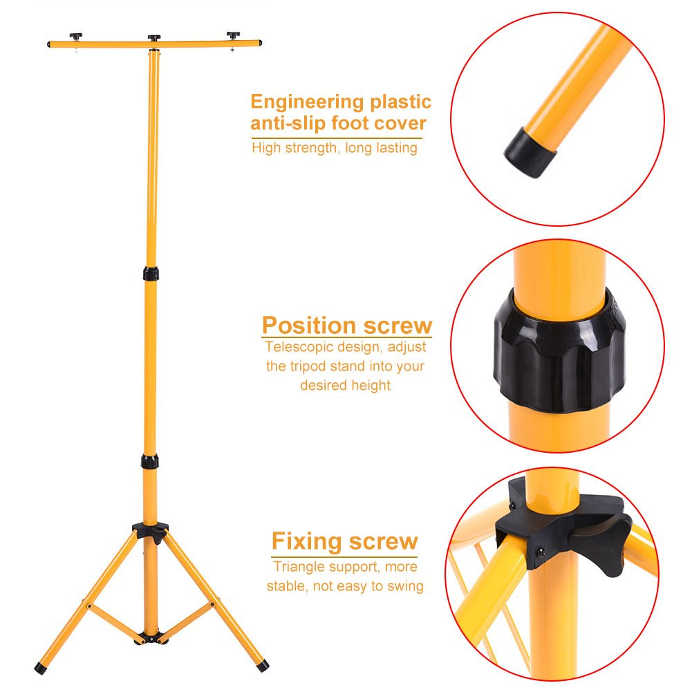Two-Head Lighting Tripod, Adjustable LED Flood Light Construction Site Work Lamp Lighting Stand Rack