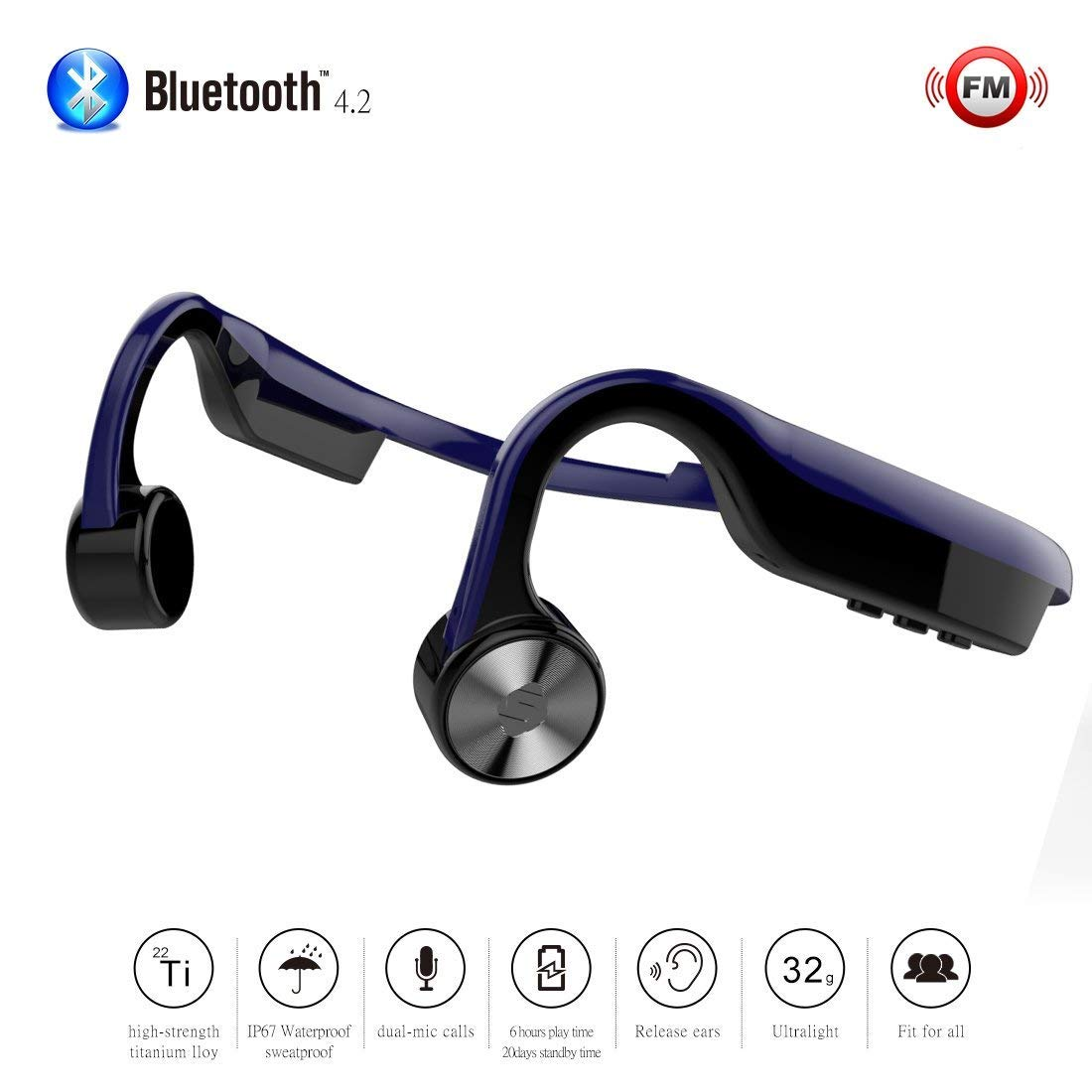 Bone Conduction Headset Bluetooth Wireless FM Radio Stereo with Mic for  Running Driving Cycling IP67 Waterproof Open Ear Sports Titanium Headphones