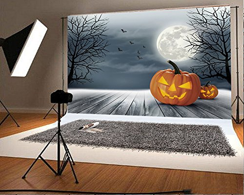 7x5 ft Hallowwen Photo Backgrounds Punmkin Face Moon Bat Wood Floor Photography Backdrops Wrinkle Free Seamless Cotton Cloth
