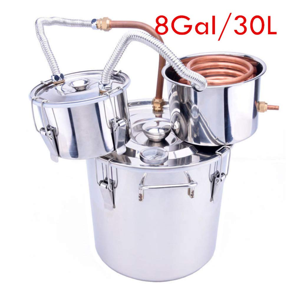 Barbella 8 Gal Water Distiller Stainless Steel Water Alcohol Distiller Copper Tube Boiler Home Brewing Kit with Thumper Keg [US Warehouse Delivery]