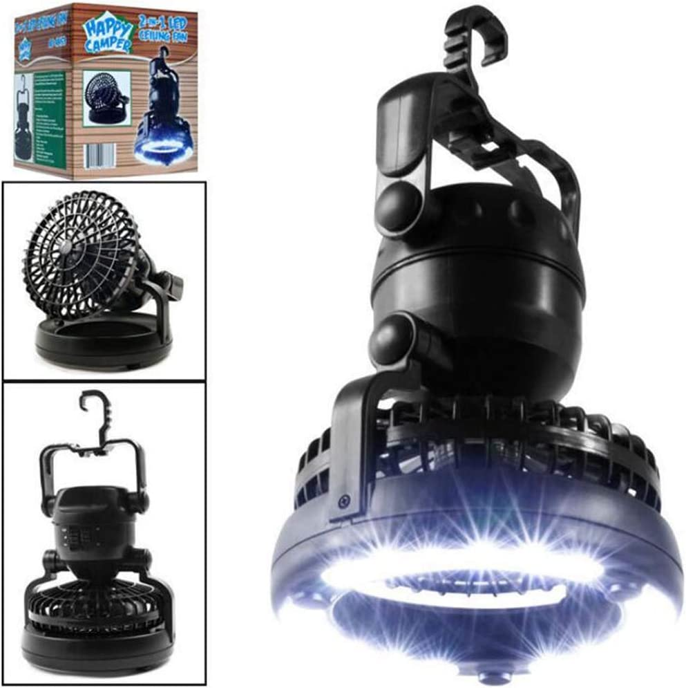 Linterna que acampa del LED, 2 en 1 luz de la carpa del LED 18 portátil con el ventilador de techo, emergencia/huracán/corte de energía/uno el mejor engranaje que acampa, lámpara del ventilador
