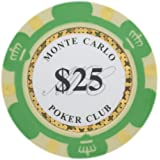 Brybelly Monte Carlo Premium Poker Chips Heavyweight 14-gram Clay Composite – Pack of 50