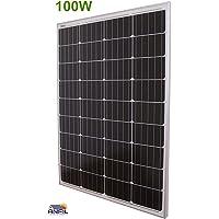 ANFIL 100 vatios 12 voltios NUEVO Panel Solar de Celda Mono-cristalina de Grado A (diseño compacto) Ideal para sistema fotovoltaico fuera de la red en vehículos recreativos, caravanas, camper o barcos