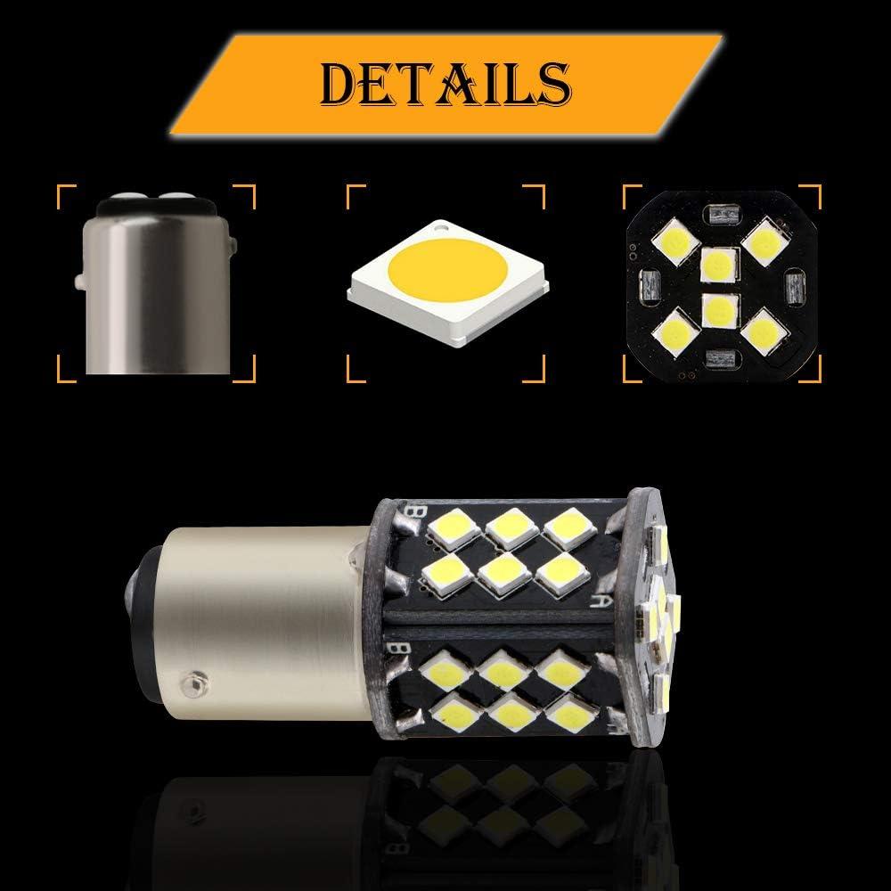 Brake Lights 6500K Xenon White 2-Pack GLL 1157 2057 2357 LED Bulbs White BAY15D P21//5W Car Bulbs 3030-30SMD 450 Lumens for Car Back Up Lights Reverse Lights