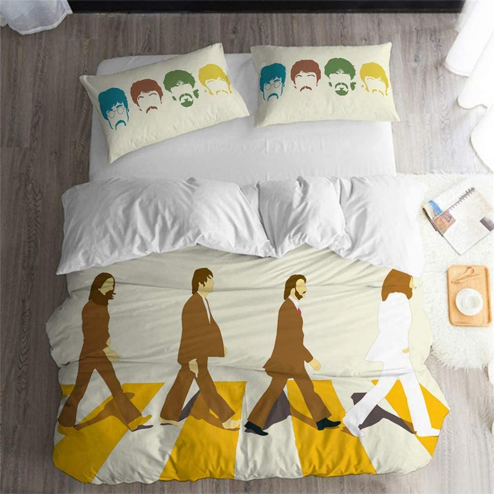 LanS The Beatles Album/Abbey Road/Bedding Set, Duvet Cover and Pillowcase, Bedroom Three-Piece Bedding (Duvet Cover + 2 Pillowcases) Twin, Full, Queen, King Bed (A, Full-203×228cm)