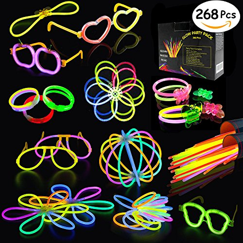 Glow Sticks, 268Pcs BUDI Glow Party Favors for Kids/Adults: 100 Glowsticks 7 Colors& Multi-Connectors for Glow Necklace, Flower Balls, Luminous/Apple/Heart Glasses and Triple/Butterfly - Your Own Create Eyeglasses