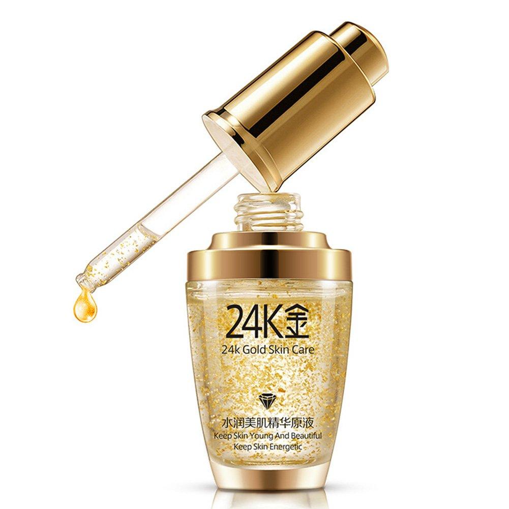 Anti-Wrinkle Essence Cream,BIOAQUA Makeup 24K Gold Essence Anti Wrinkle Collagen Moisturize Hyaluronic Acid Liquid(30 ml) Woopower