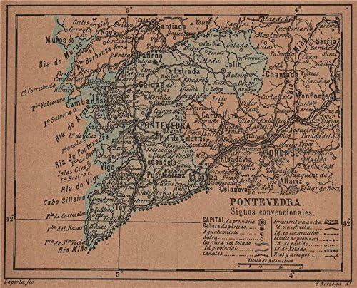 Pontevedra Galicia. Mapa Antiguo de la Provincia – 1905 – Old Antiguo Mapa Vintage – Mapas de Impreso de España: Amazon.es: Hogar