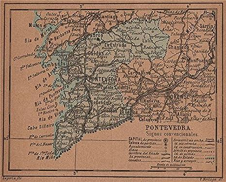 Pontevedra Galicia. Mapa Antiguo de la Provincia - 1905 ...
