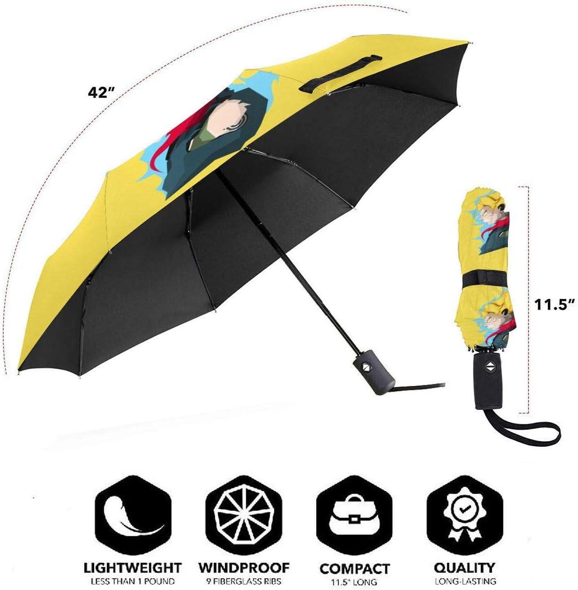 Windproof Travel Umbrella Son Goku Dragon Ball Super Compact Folding Umbrella Automatic Open//Close