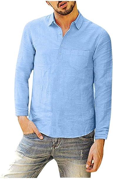 Moginp - Camisa de Manga Larga para Hombre, Color Puro Azul Claro M: Amazon.es: Ropa y accesorios