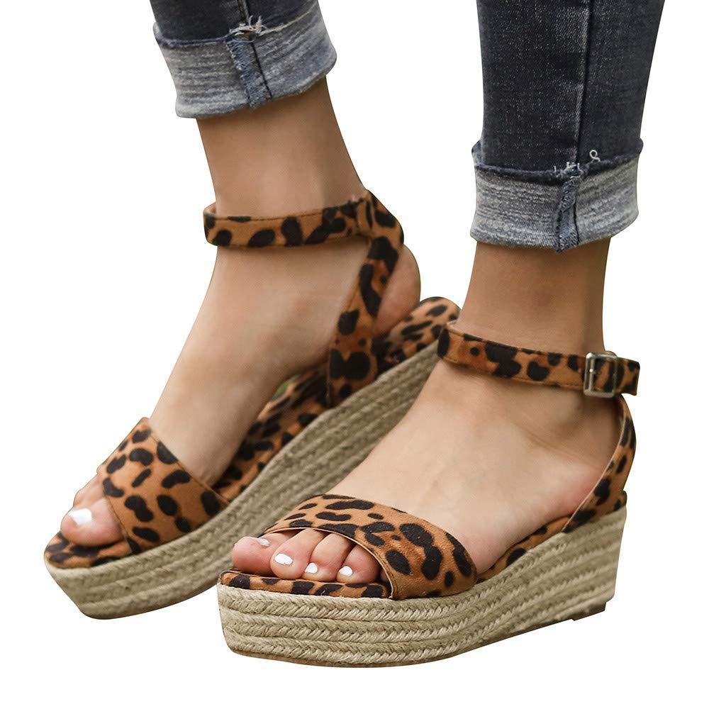 Women Gladiator Summer Sandals,❤️Maonet Women's Ladies Strap Ankle Buckle Platform Wedges Woven Sandals Roman Shoes 3cm-5cm (US:7, Multicolor) by Maonet_Women Sandals