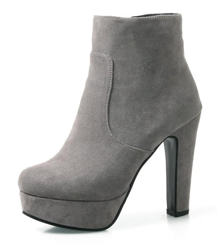 f8adbcfd264e28 Auftrag Billig Verkauf Offizielle Seite Damen Nubuk Plateau Knöchelhohe  Stiefel mit Absatz Grau 39 EU SHOWHOW