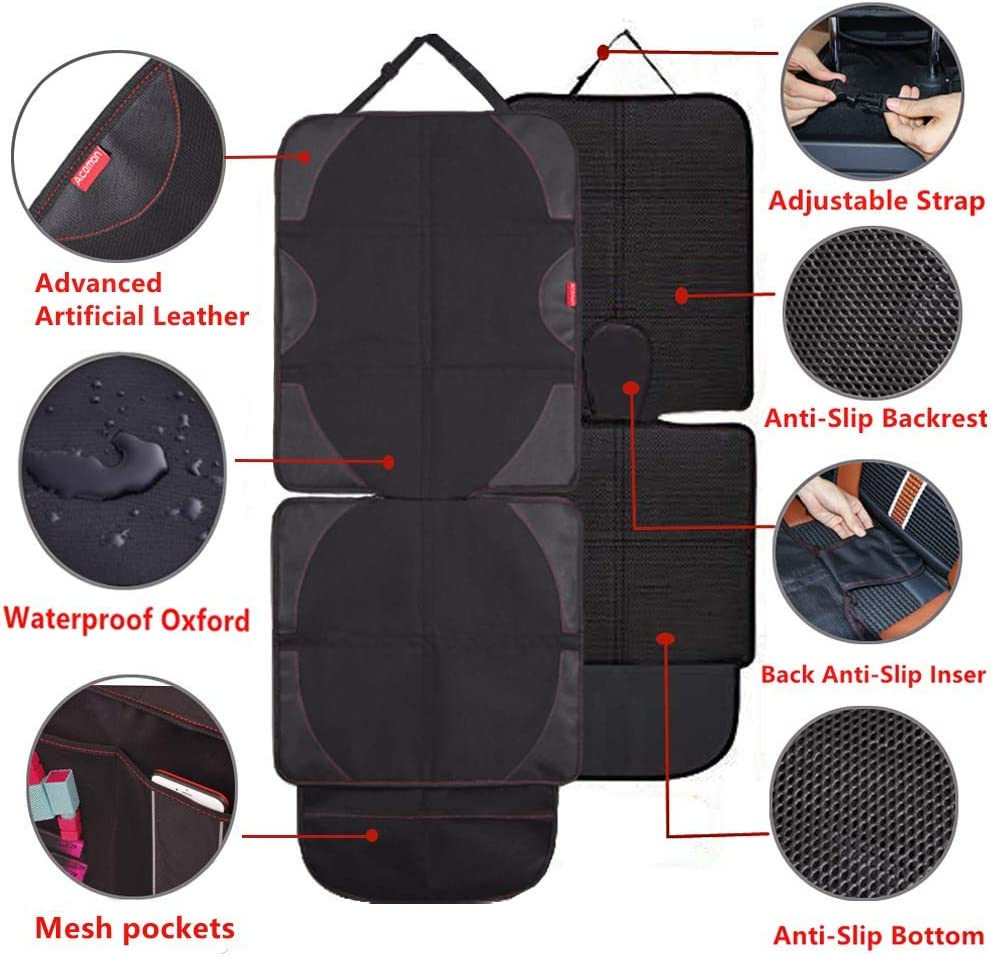 Baby seat car protector with Non-Slip Backing and Mesh Pockets for Baby and Pet PVC Leather Reinforced Corners Easy to Clean Travel Accessories Organizer Acomon Car Seat Protector for Child Seats