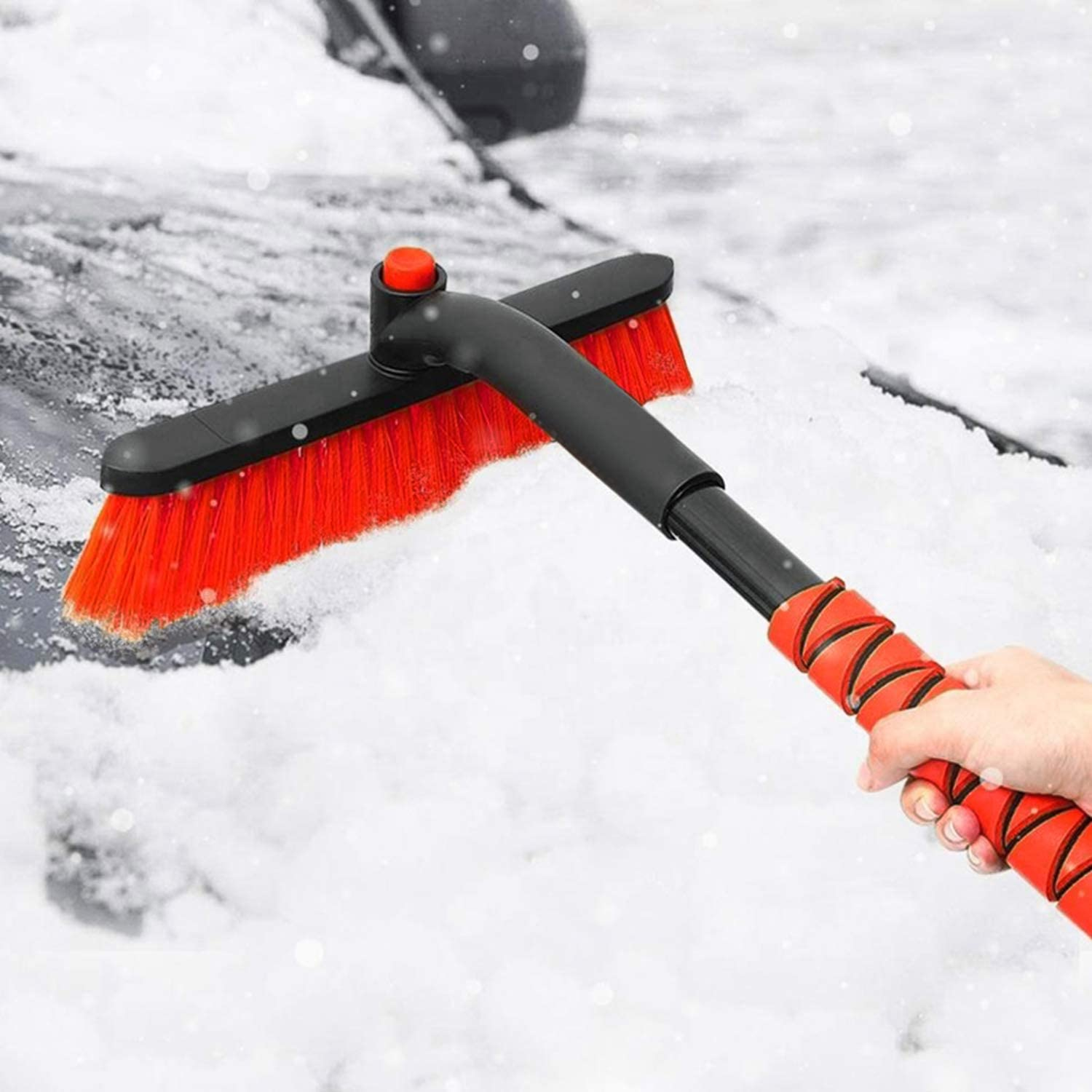 Rotating Head AD AIDO 26 Snow Brush with Squeegee /& Ice Scraper Auto Windshield Snowbrush no Scratch Broom Removal Tool Foam Grip Car Truck SUV Winter Remover
