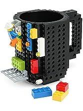 SH Build-On Brick Mug Coffee Cup DIY Type Plastic Creative Building Blocks Coffee Tea Beverage Drinking Funny Gift