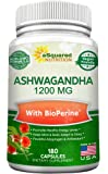 Pure Ashwagandha 1200mg with BioPerine - 180 Vegan Capsules - Ashwagandha Root Powder Supplement w/ Black Pepper Extract for Anxiety & Stress Relief - Pills to Support Mood, Immune & Thyroid