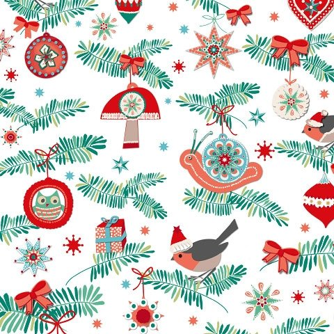 Christmas Napkins Serviettes with a truly festive design packed with stars, baubles, tree decorations and robins. 3ply 20/pack 33cm x 33cm, White Artebene