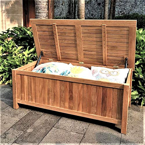 Poolside Storage Bench 4ft Solid Teak Wood Lidded Storage Box Large All Weather Porch Deck Garden Towels Cushion Toys Hose Organizer & eBook by JEFSHOP ()