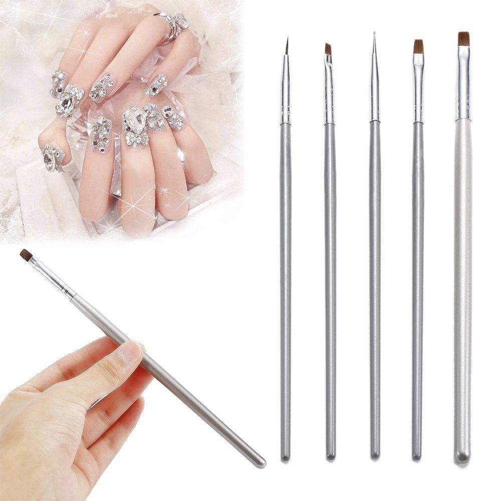 5PCs Painting Silver Brush Nail Art UV Gel Painting Polish Brushes Dotting Drawing Pen Manicure Pedicure Tool Set