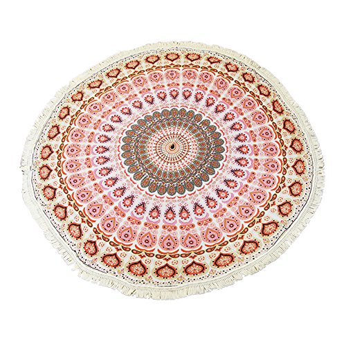 MineSign 5' Round Beach Throw with Tassel Hippy Boho Gypsy Beach Towel Tapestry, Red