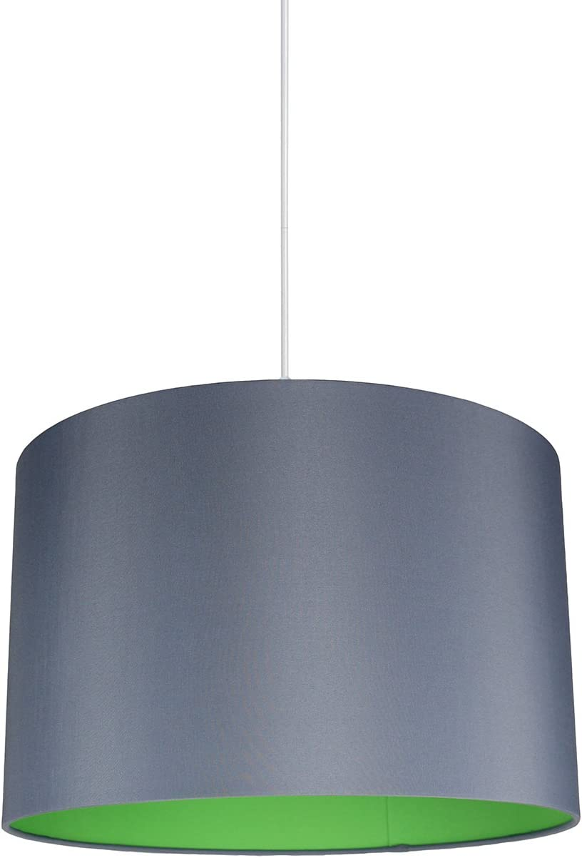 Urbanest Marie Duo Color Shade Pendant with Hanging Light Kit, Gray Cotton with Green Lining, 15 1 2-inch Diameter, 10-inch Height