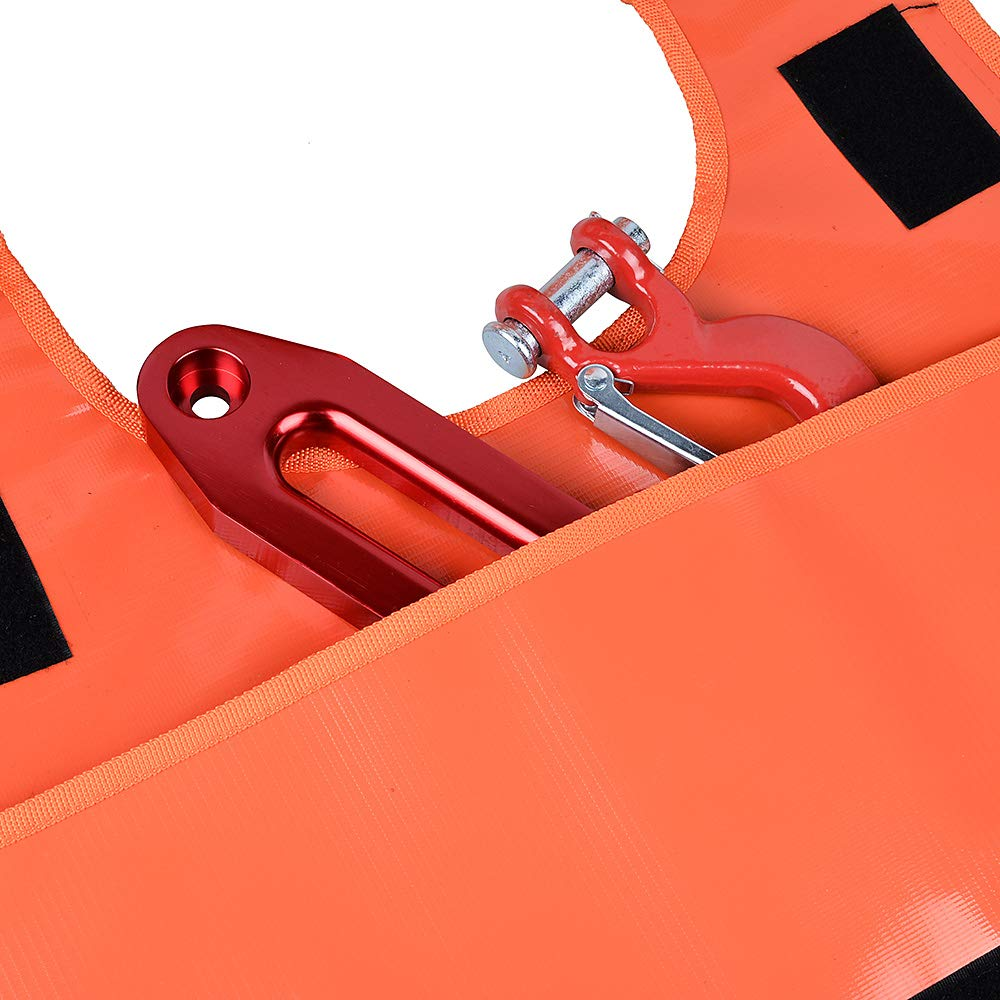 For Winch Cables and Recovery Straps up to 3 inch Thickness Damper Dampener Blanket with Storage Pocket-Light Orange