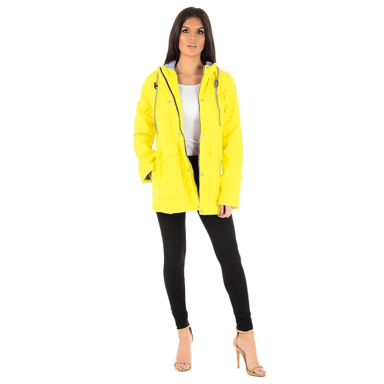 MyShoeStore Ladies PVC PU Rain Mac Womens Rubberised PU Raincoat Waterproof Festival Parka Parker Hooded Jacket Water Resistant Designer Girls Kagool Cagoule Windbreaker Top Plus Big Size 8-16